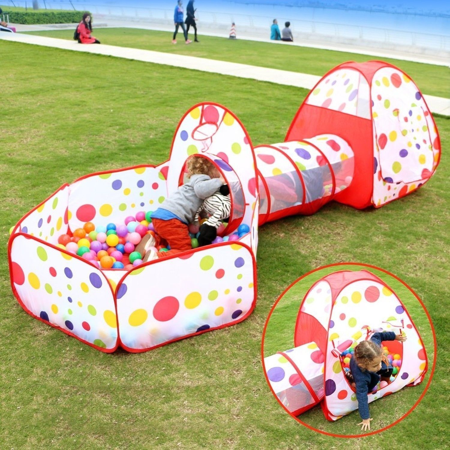 Eocusun Pop Up Kids Play Tent With Tunnel And Ball Pit Indoor And