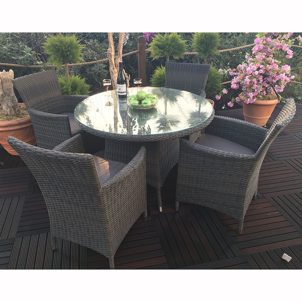 Royal Craft Paris 4 Seater Round Dining Set | Garden | Pinterest