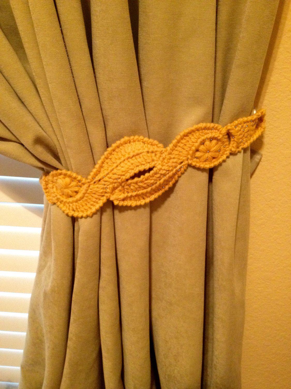 Crochet Curtain Tiebacks (1 pair gold/yellow)   Curtain ...