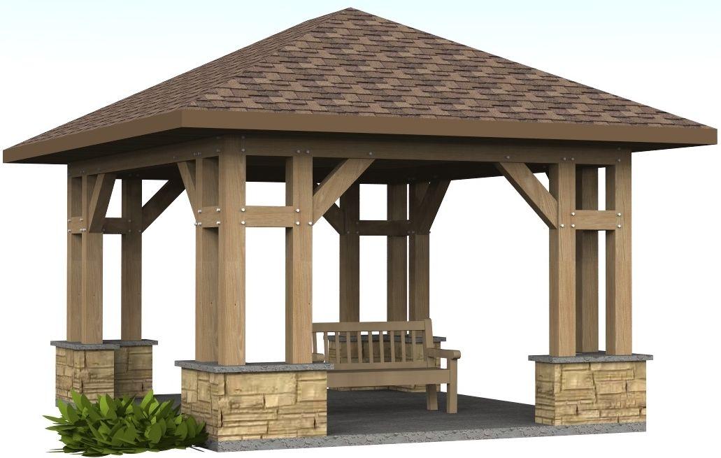 Craftsman garden pavilion 14 39 x 16 39 timber frame for Craftsman style shed plans