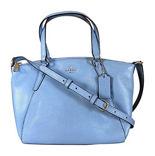 75dc0f3f0d1b Coach Pebble Leather Mini Kelsey Satchel Crossbody Handbag (Metallic Pool)   Shoes