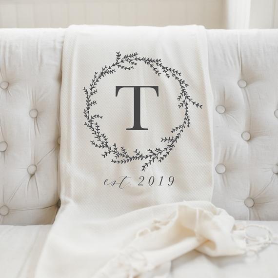 Woven Wedding Blanket Throw Wedding Keepsake Gift Personalized Wedding Throw Blanket Personalized Throw Blanket Damask Wedding Blanket