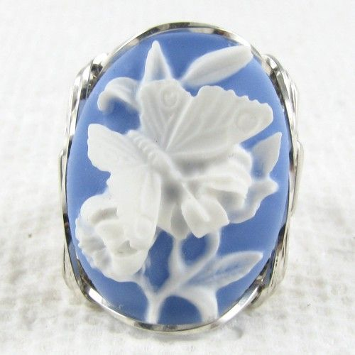 Flower Butterfly Cameo Ring Sterling Silver