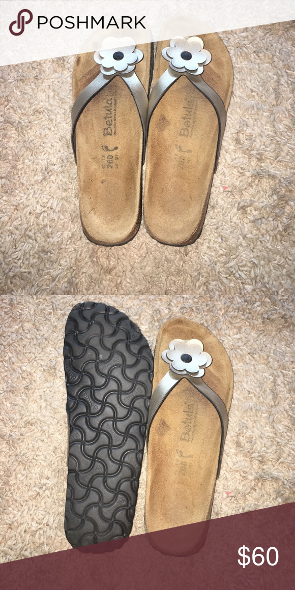 77450c08bdde Like New Betula by Birkenstock Sandals Size 40 Betula sandals. Silver-ish  gold metallic straps with flower embellishment. Birkenstock Shoes Sandals