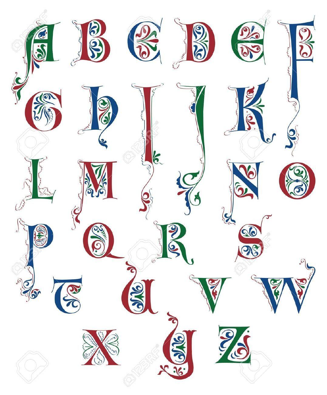 Medieval scroll writing alphabet