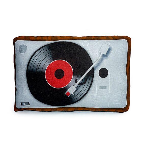 Vintage Vinyl Player Pillow