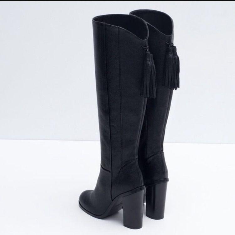 Zara Leather Tassel Boots