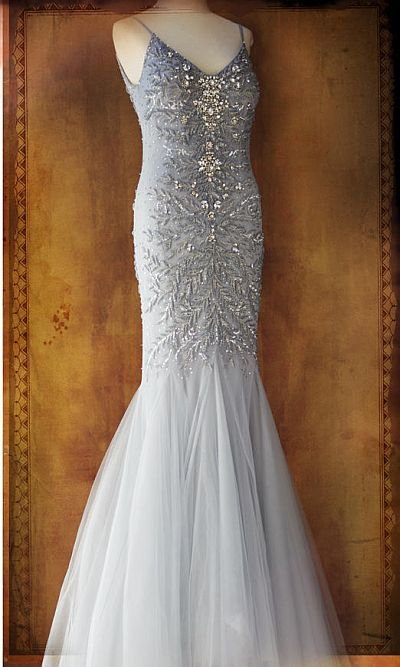 MACDUGGAL COUTURE CASCADING LAYER MERMAID EVENING DRESS