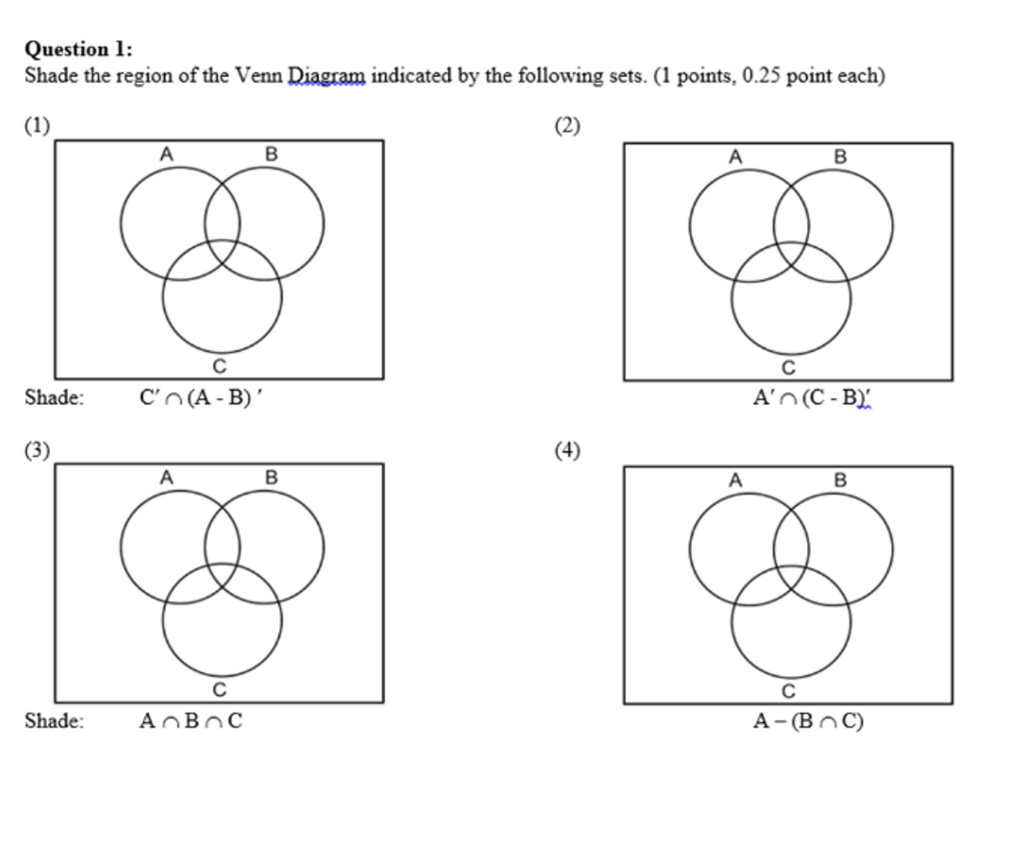 4 Shading Venn Diagrams Worksheet In