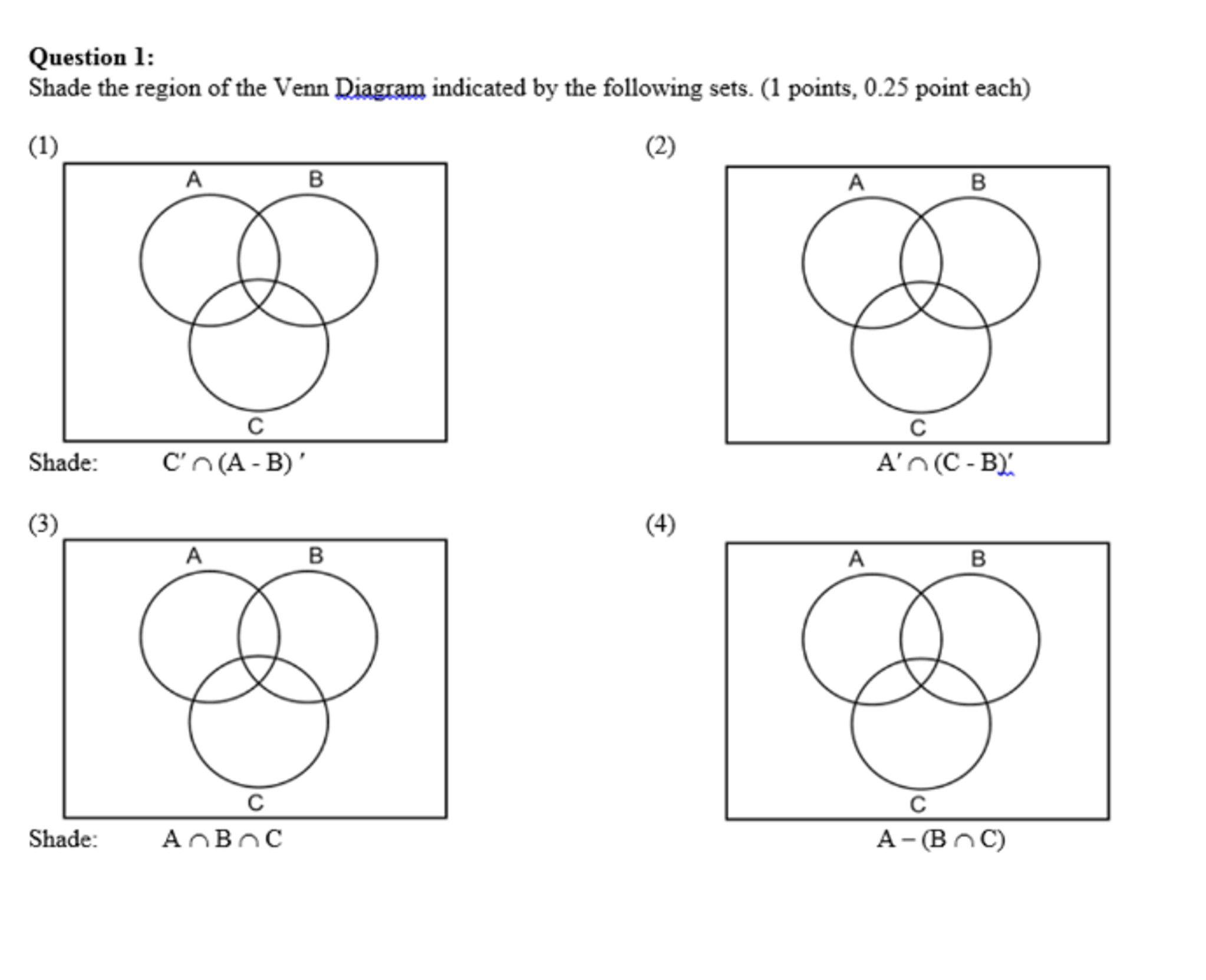 4 Shading Venn Diagrams Worksheet In