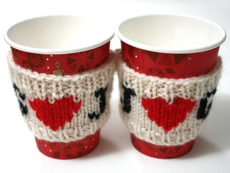 Love Heart Cup Cosy Knitting Patterns By Vikki Bird On Loveknitting