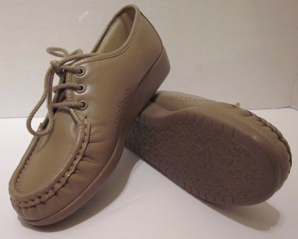 SAS Beige Mocha Siesta 7 M Leather Shoes Lace Up Walking Soft Step Heel