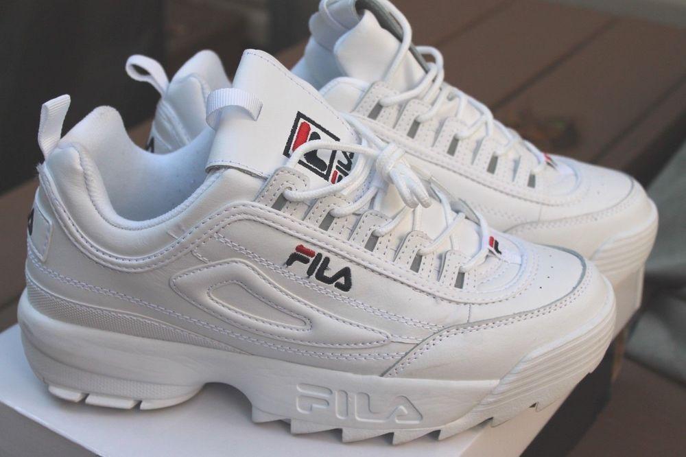 8a324ea4b34 Mens Fila Disruptor II Premium Athletic Shoe White