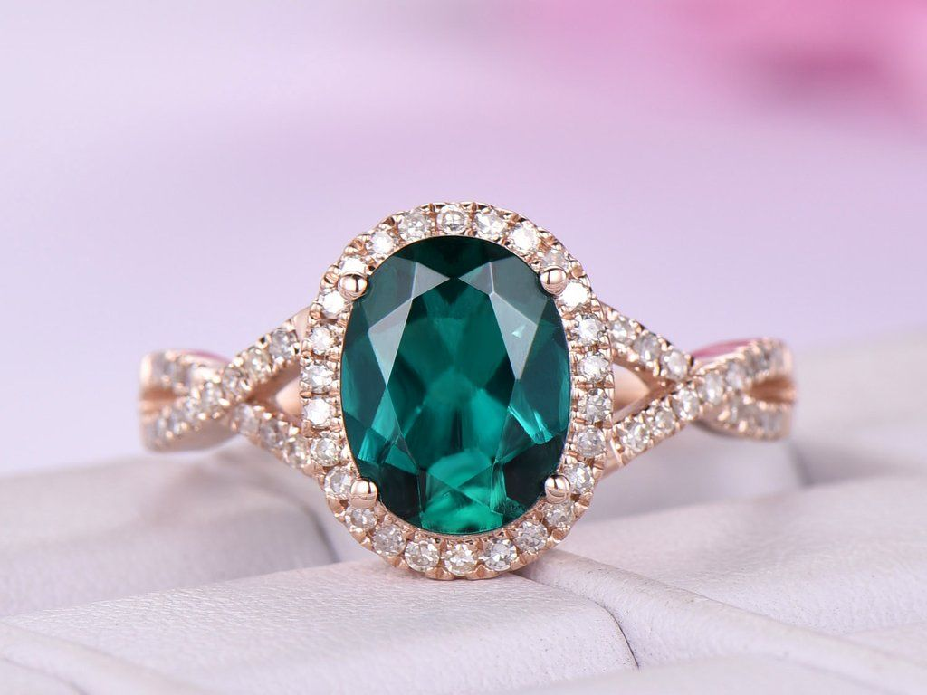 Green Emerald /& Diamond Simulant Claddagh Ring 14K Rose Gold Over Sterling