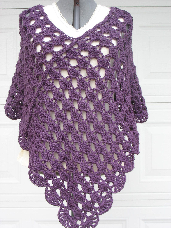 crochett poncho patterns | Plus Size Ladies Crochet Poncho ...