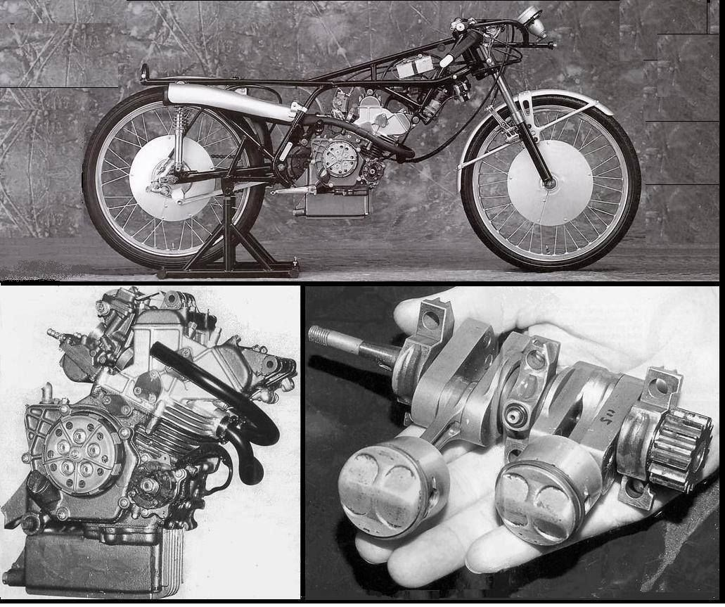 The amazing 'Honda RC1115' 50cc machine. The tiny crankshaft and pistons are a sight to behold ...