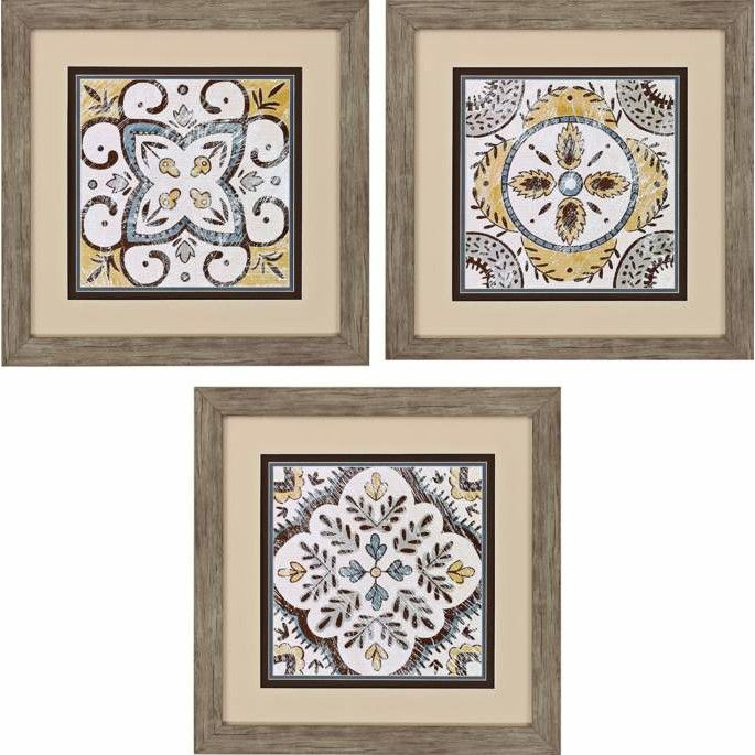 Propac Images Small Batik Square 3 Piece Framed Graphic Art Set Tablolar