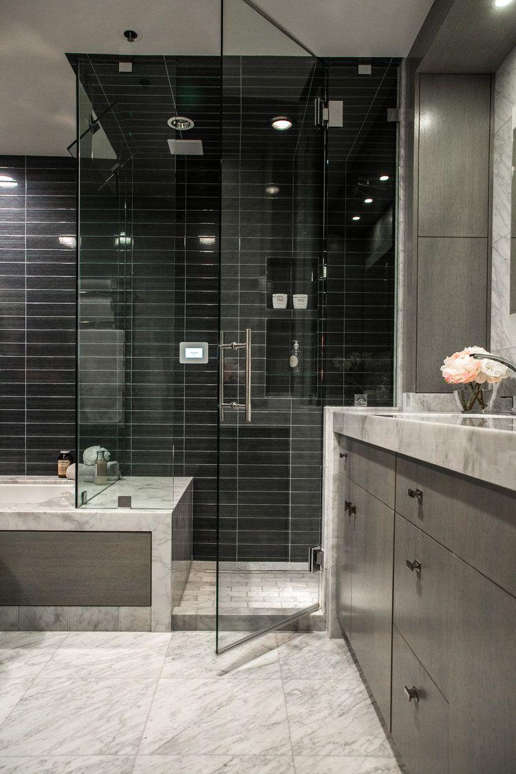 Steam Shower Designed In Luxury Bathroom By Designer: Lori Gilder # Steamshower #blacktile #