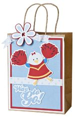 This cute gift bag is great for birthday or graduation presents! It was made with the 3 Birds on Parade, Plantin SchoolBook, and Accent Essentials cartridges!