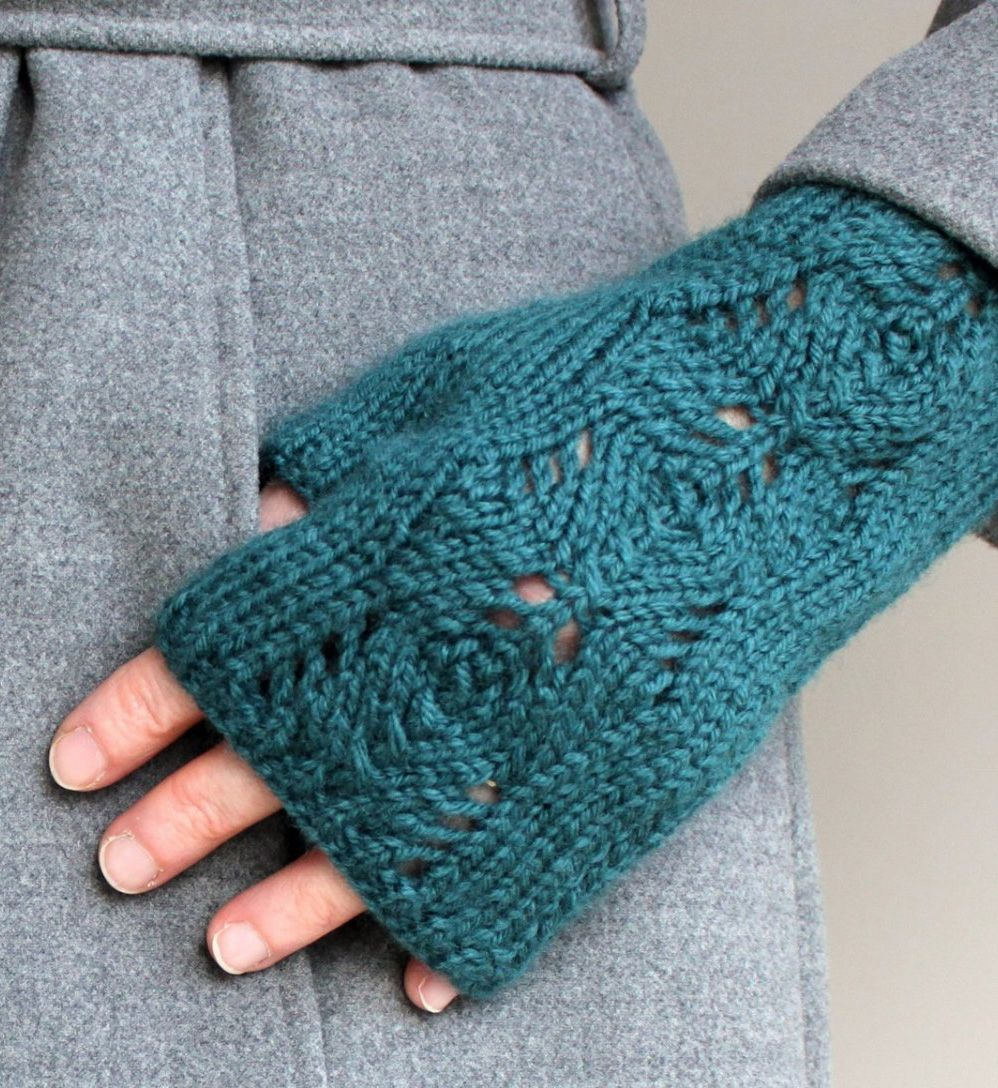 Knitting pattern for scots pine fingerless mitts lace knitting pattern for scots pine fingerless mitts lace wristwarmers with a repeating pine cone design bankloansurffo Images