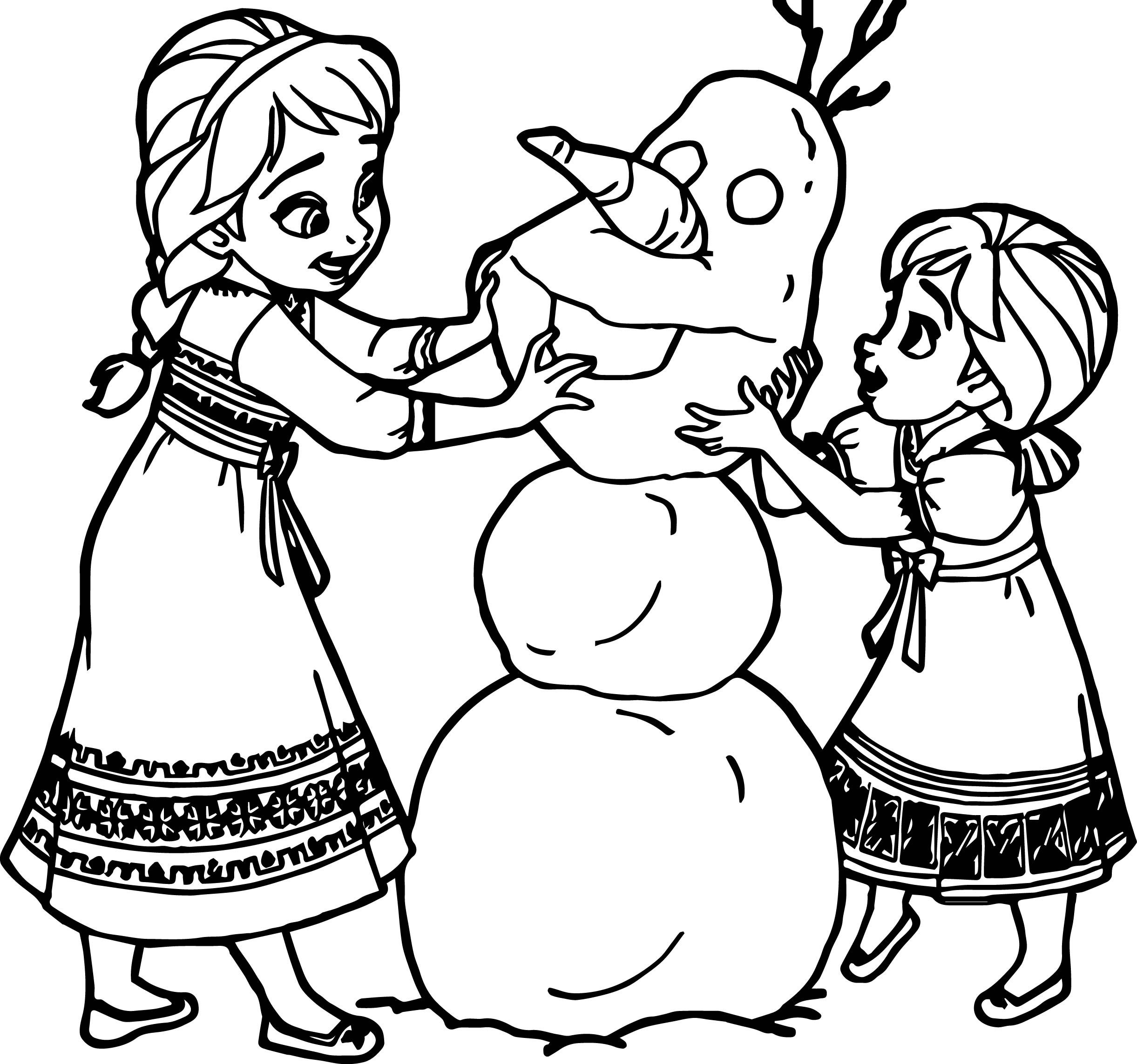 Awesome Young Anna Elsa Snow Man Coloring Page