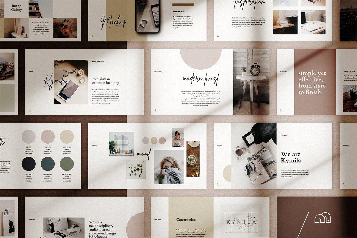 Kymila Powerpoint Brand Template Powerpoint Presentation Blog Kit