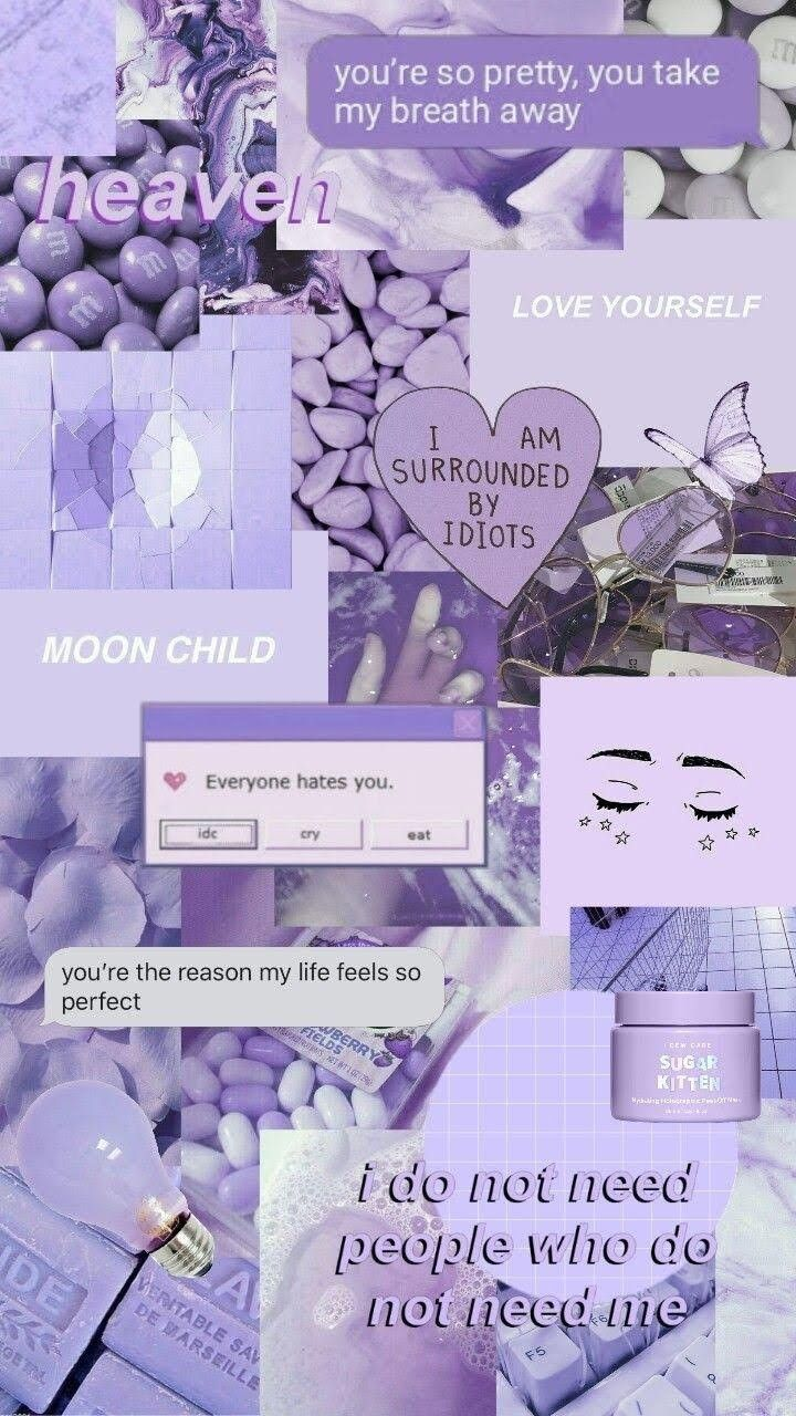 Lock Screen Iphone Aesthetic Pastel Purple Wallpaper in ...
