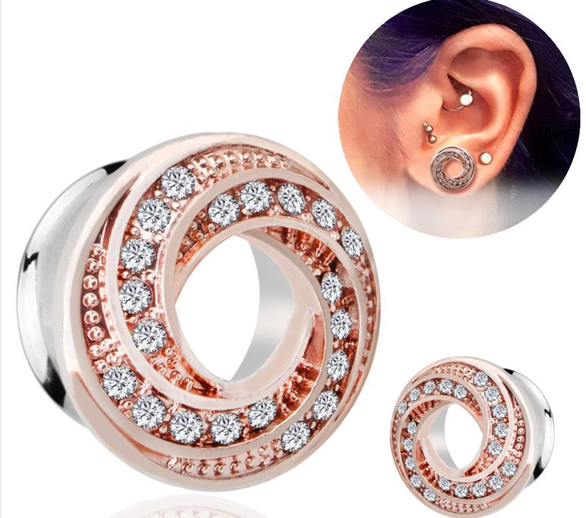 Steel Screw Snowflake and Opal Ear Tunnel Plug 6mm 16mm 2 Colours