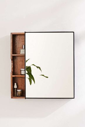 Plymouth Sliding Storage Mirror is part of Home Accessories Design Bathroom Storage - Natural mango wood medicine cabinet with a sleekly sliding mirrored front  only available right here at UO  With 3 interior shelves for ample storage space for beauty products, makeup + more  Hanging hardware not included     Content + Care     Mango wood, iron, glass        Wipe clean      Imported     Size    Dimensions 15 l x 4 25 w x 20 h          Shelf dimensions (x3) 13 5 l x 3 5 w x 6 h     Shelving weight limit 8 8 lbs      Shipping package dimensions 23 5 l x 8 25 w x 19 25 h       Shipping package weight 24 5 lbs