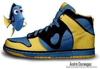 on sale 17a35 5ba03 Nike Dunks Custom Design Sneakers   Dory and Nemo Nike Dunk SB High Top  Disney Finding.