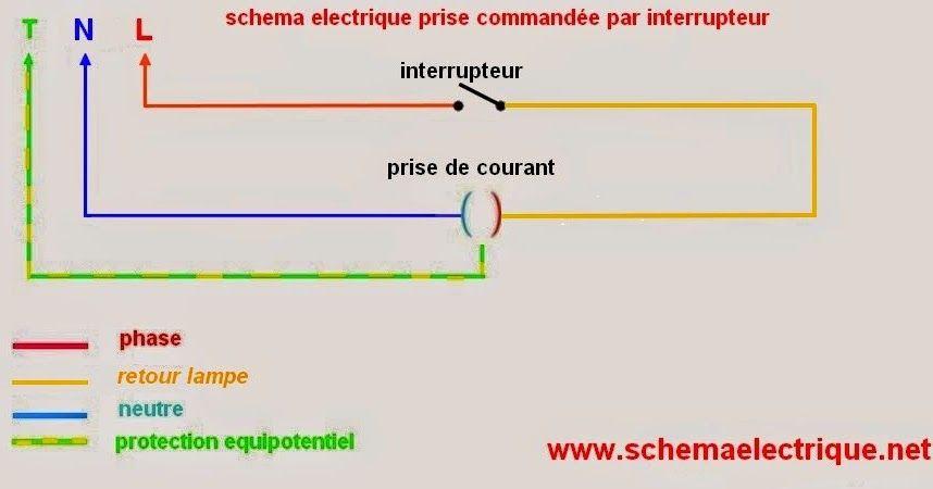 schéma electrique prise commandée - branchement prise commandée