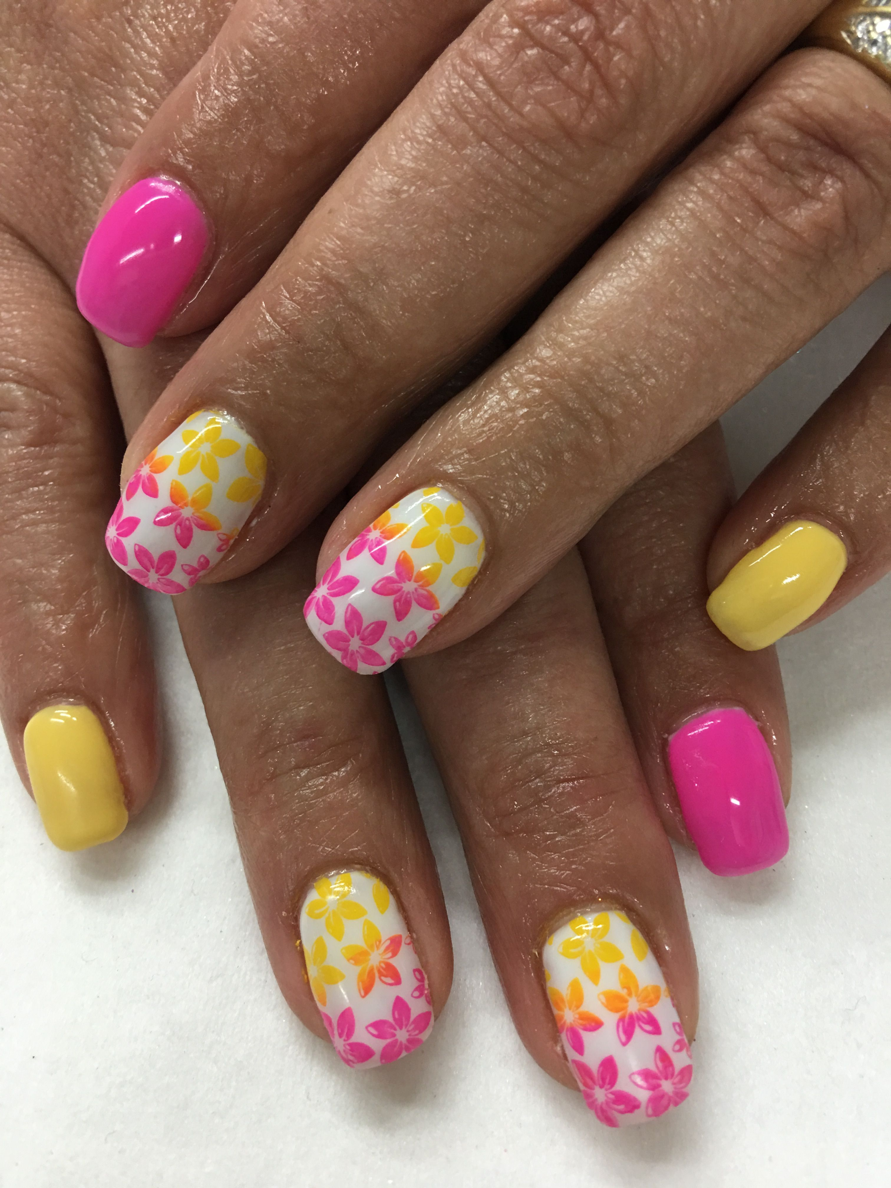 Summer Bright Neon Pink & Yellow Two Tone Ombré Stamped Flowers Gel ...