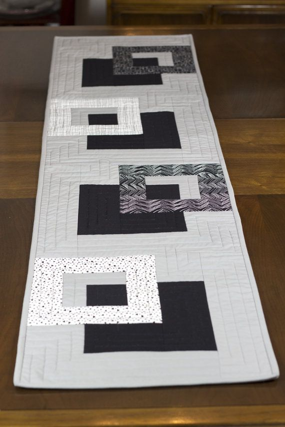 Modern Quilted Table Runner, Black White and Grey Wallhanging ...
