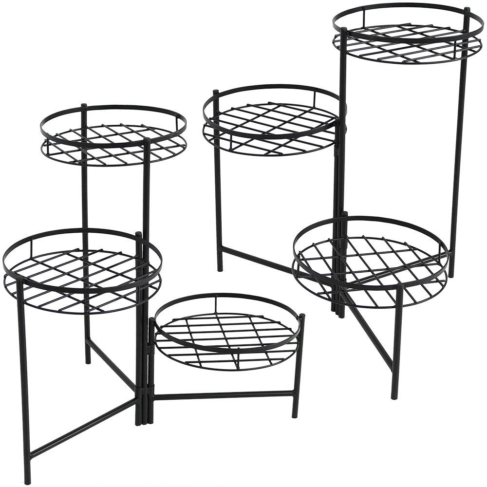 22 In Black Iron 3 Tiered Plant Stand 2 Pack Hmi 729 The Home Depot Plant Stands Outdoor Sunnydaze Decor