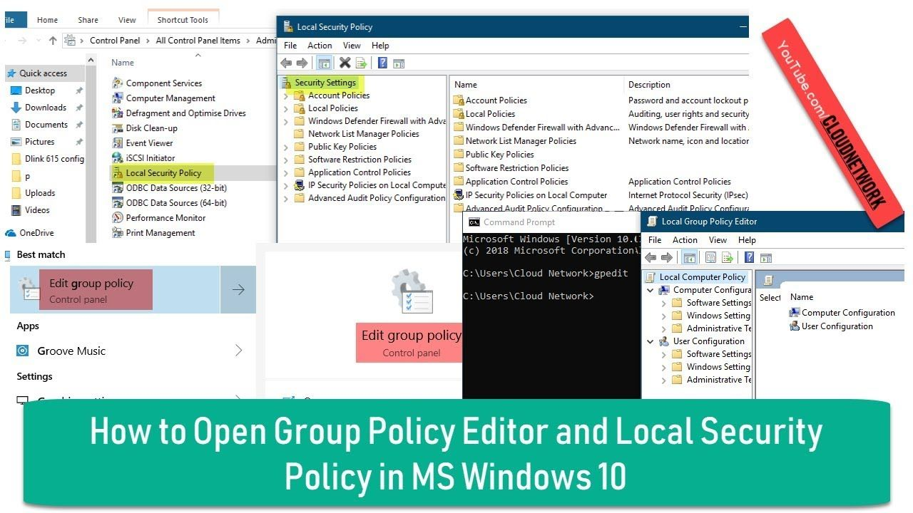How To Open Group Policy Editor And Local Security Policy In