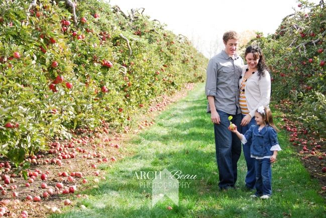 fall family session in apple orchard