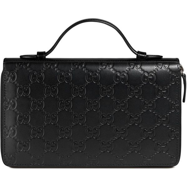 b30c75d8 Gucci Signature Travel Document Case ($1,400) ❤ liked on Polyvore featuring  bags, black, travels bags, gucci bags, top handle bags, gucci and genuine  ...