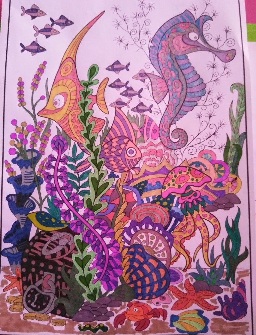 Colored From The Timeless Creations Splash Of Color Colored With Sharpies Gel Pens Mandala Coloring Mermaid Coloring Book Ocean Art