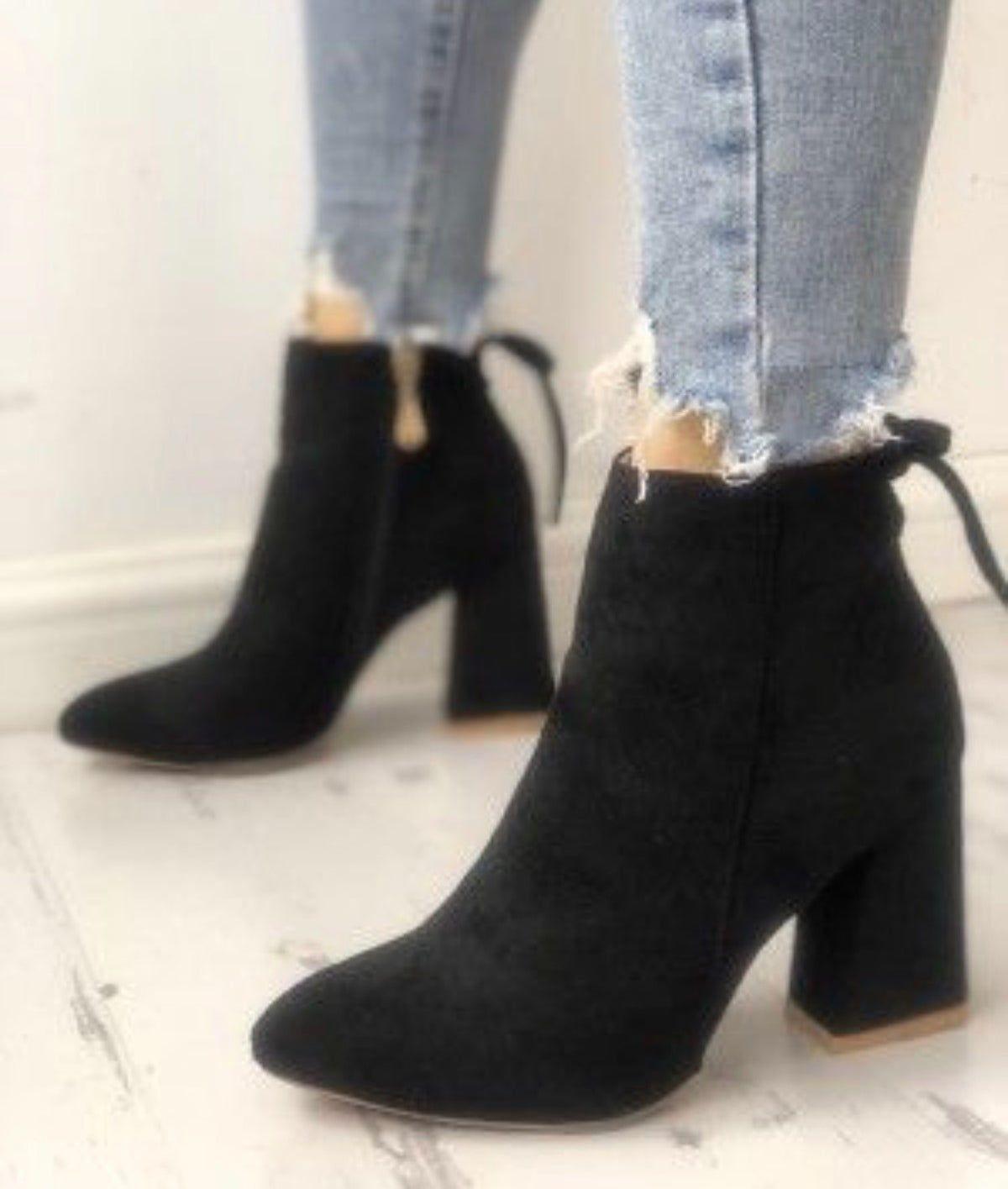 Peep toe heel boots