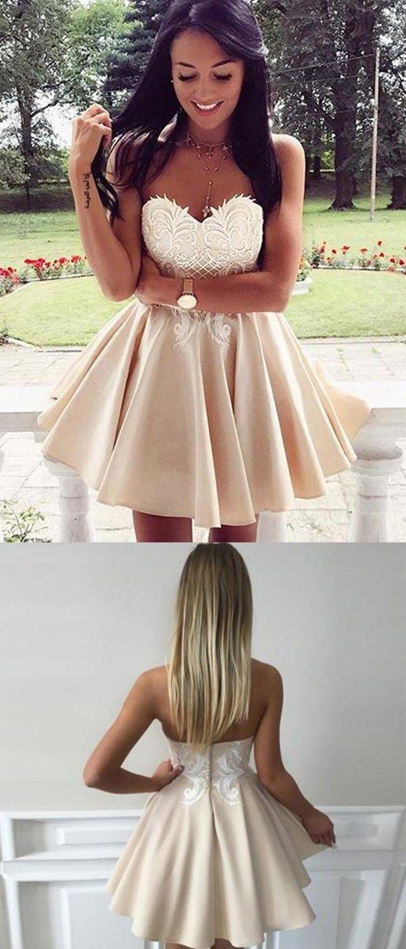 Aline sweetheart mini satin short simple homecoming dresses apd