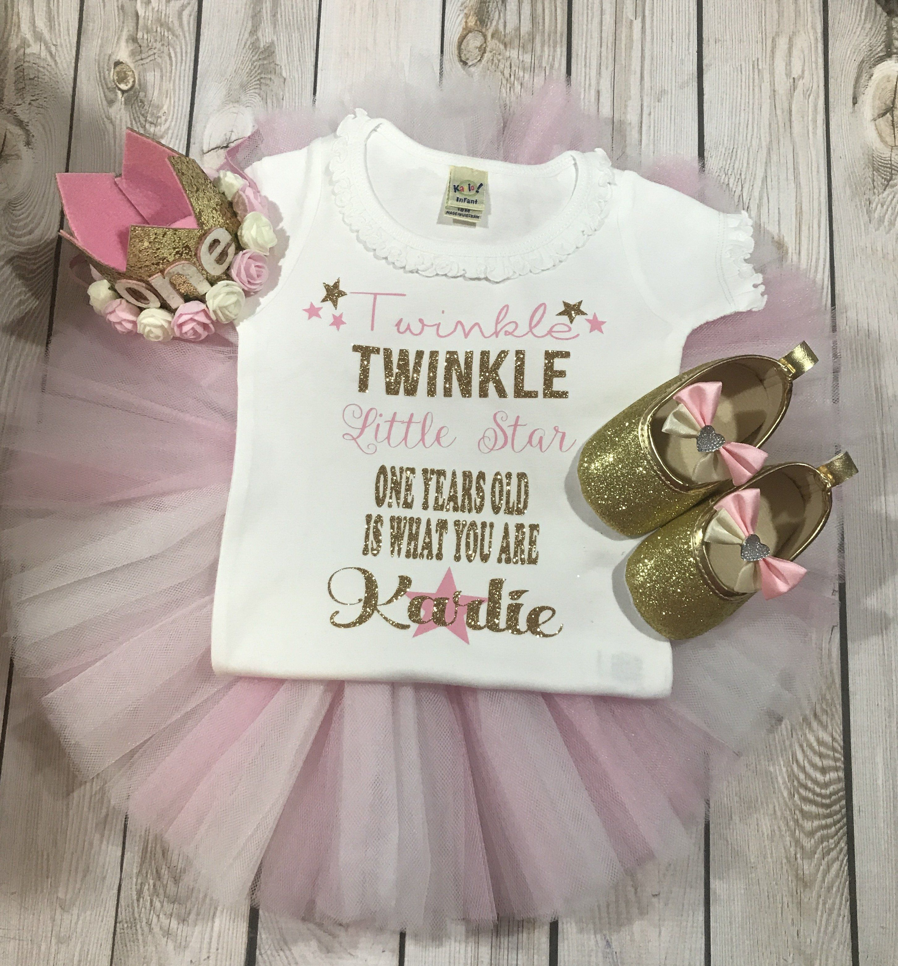 First birthday twinkle twinkle little star outfit girl