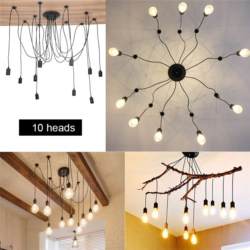 Walfront Diy Vintage Style Pendant Light Holder Industrial Vintage Style Spider Ceiling Lamp Hanger Fixtures Fit For E27 Bulb 10 Head 2m Cable Walmart Com Vintage Pendant Lighting Industrial Pendant Lights