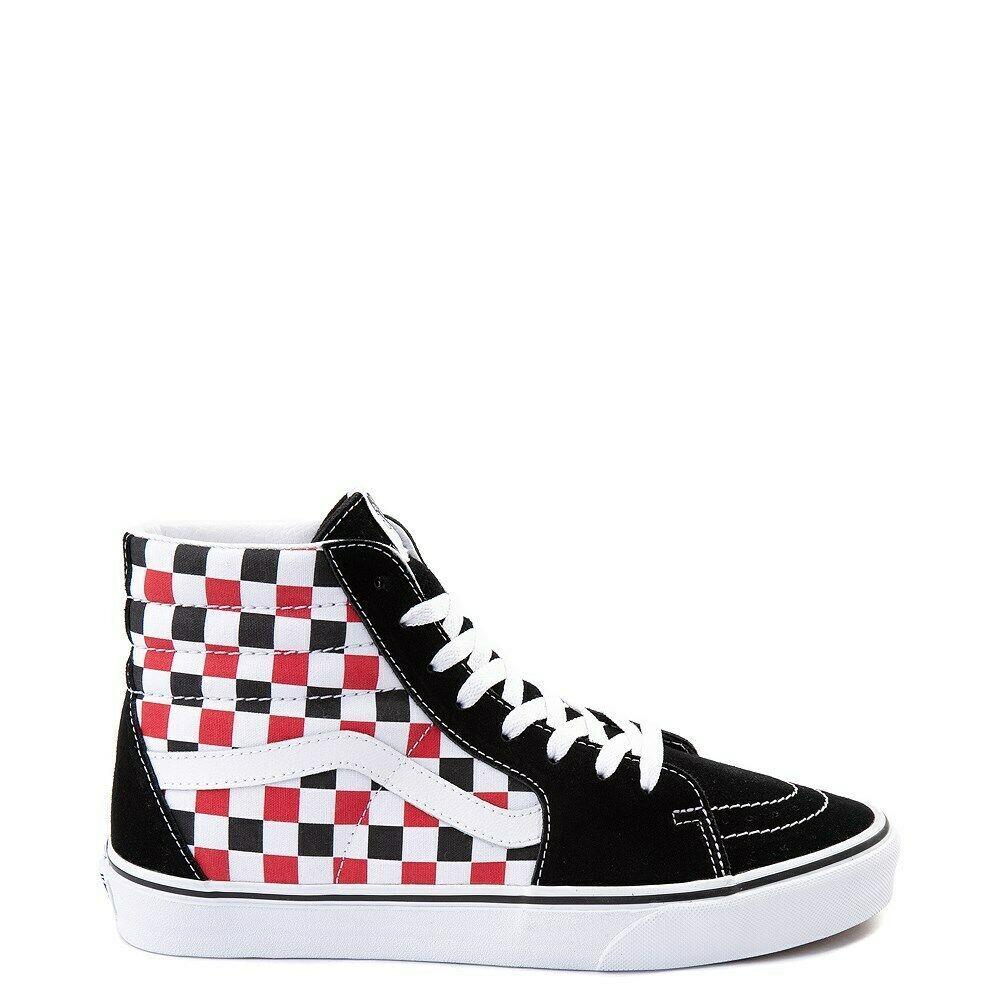 Neuf Vans Sk8 Hi Damier Skate Chaussure Noir Rouge Blanc ...