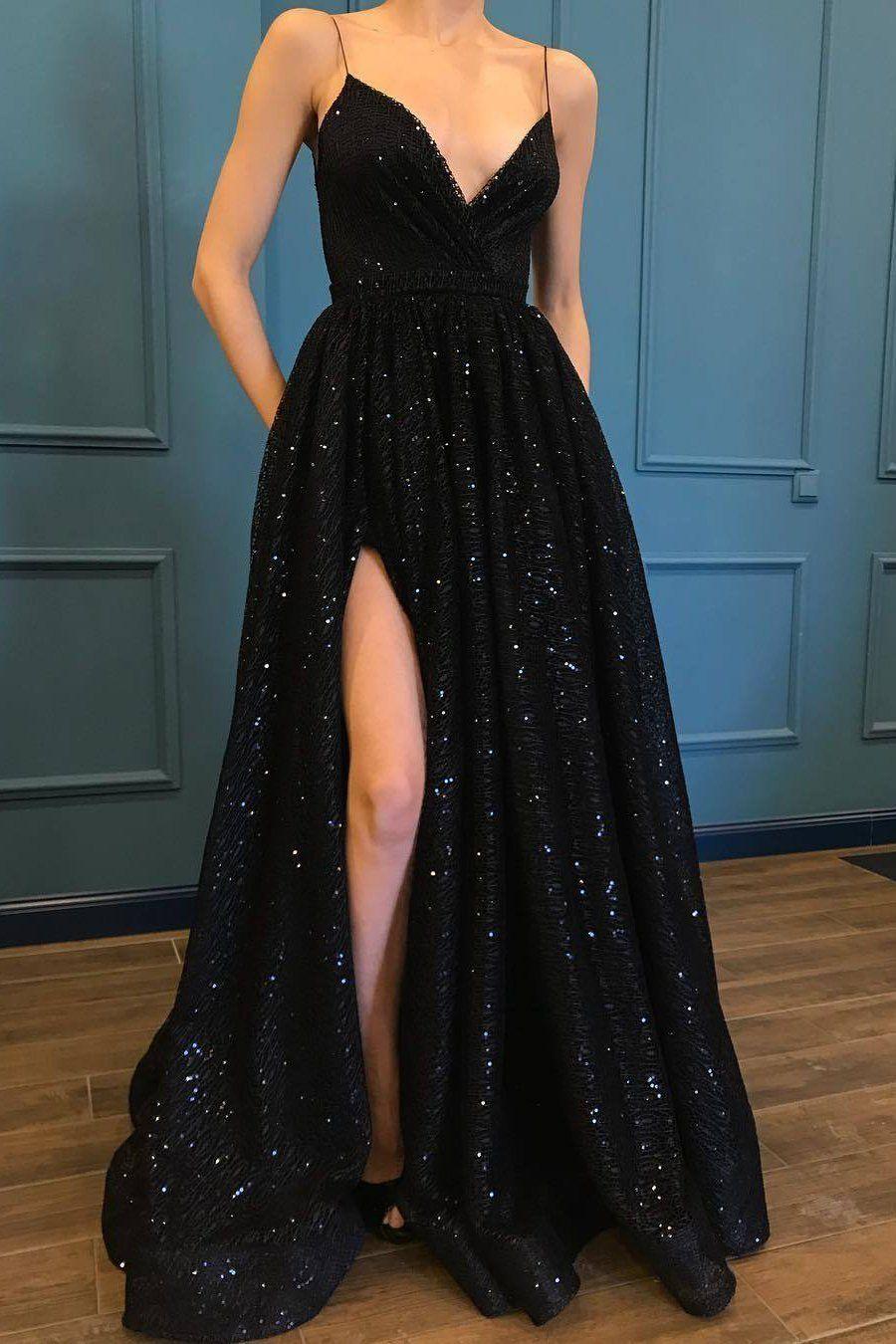 A Line Spaghetti Straps Black Sparkle Long Prom Dresses with Pockets V Neck Sequins Slit