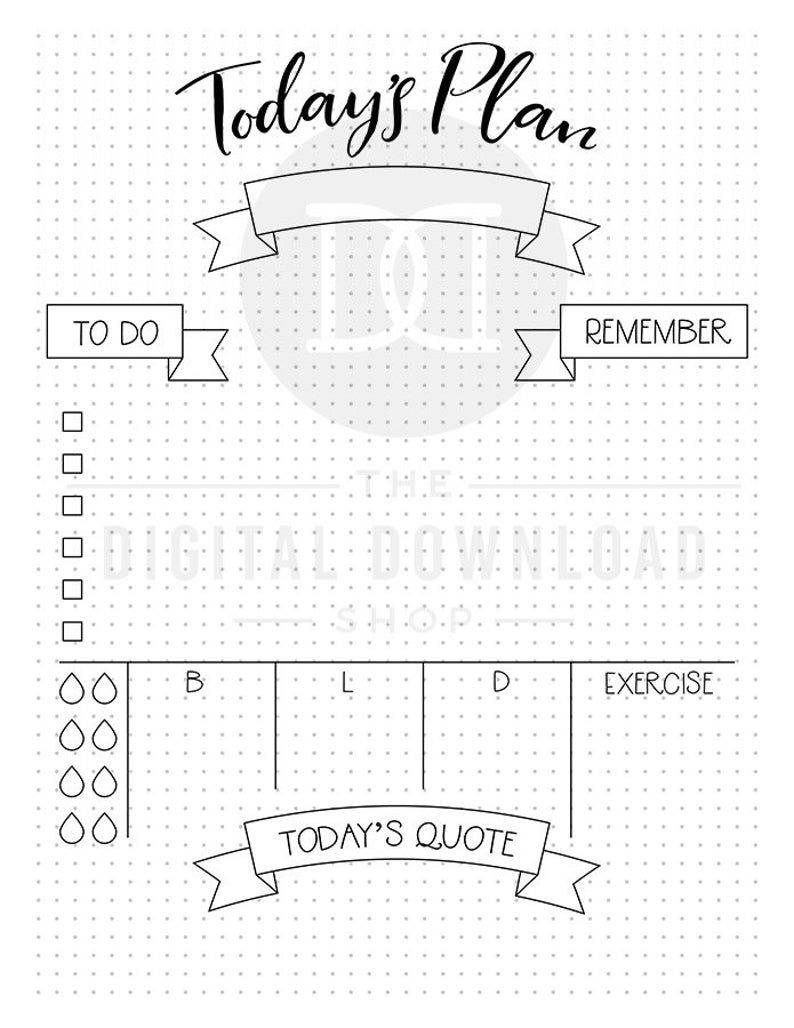Daily Planner Printable Bullet Journal Daily Log Printable | Etsy