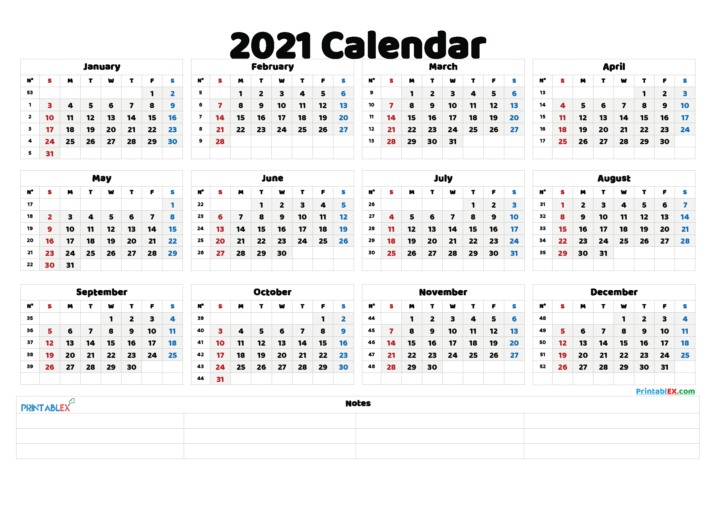 Free Printable 2021 Yearly Calendar with Week Numbers – 21ytw138