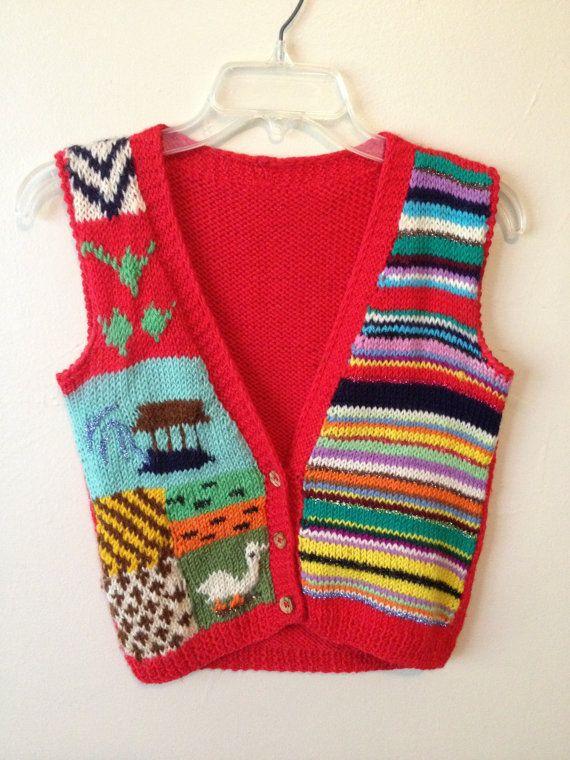 Vintage 70s hand knit decorative red button-up sweater vest sz ...