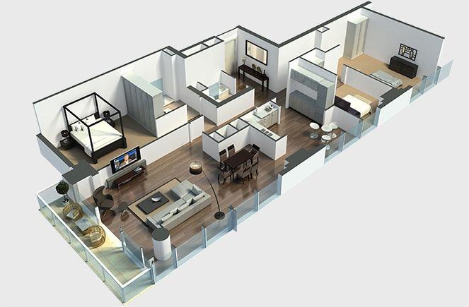 3 Bedroom Apartment House Plans Apartment House Plans House Plans 3d Floor Plan