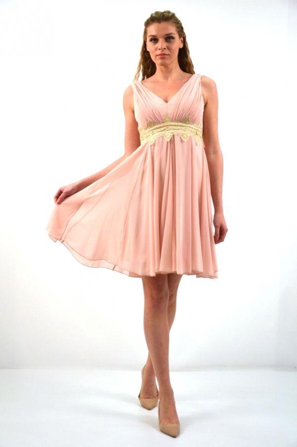 c997f2b6fec8 Φόρεμα κοντό αμπίρ γραμμή V Επίσημα Φορέματα