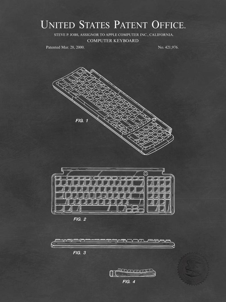 Steve Jobs Apple Computer Keyboard Patent Print Art Drawing Poster 18X24